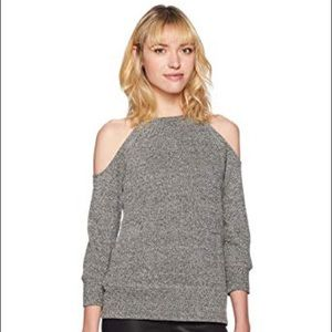 Glimmer Gray Open Shoulder Sweater with 3/4 Sleeve
